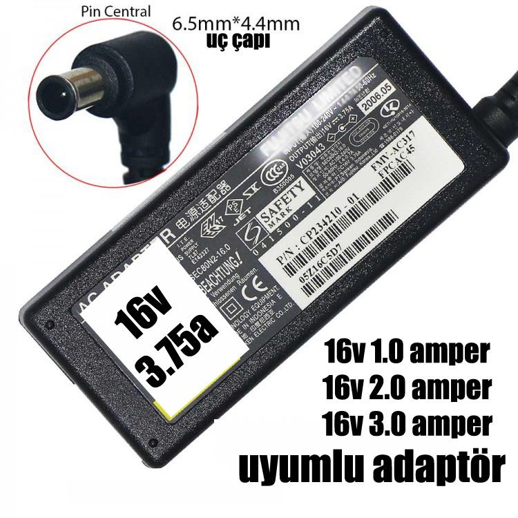 16V 3.75a 6.5 x 4.4 Sony uç çaplı adaptör Ortası iğneli