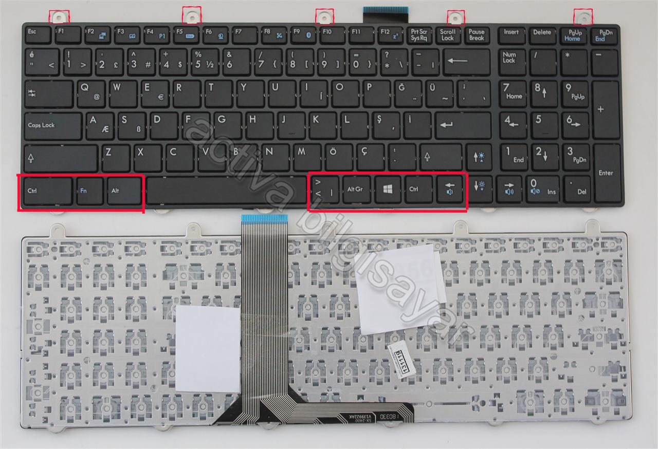 Monster P955HP, P955HP6, N870HK1, N875HP6 Klavye Işıksız