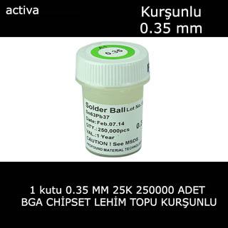 0.35mm BGA Lehim Topu 250.000 Adet 250K leaded