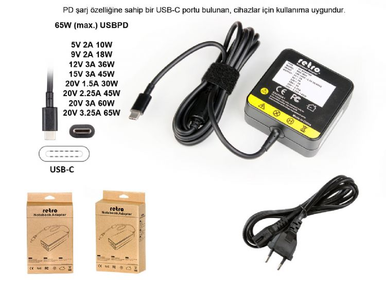 65W USB-C Adaptör Dell Latitude 13 3380 3390 7368 7370 7389 7390 2-in-1 E7370