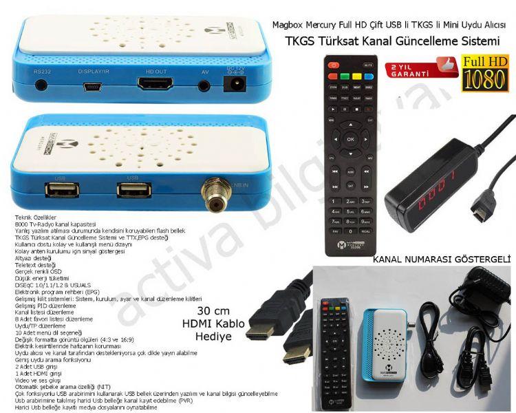 Magbox Mercury Full HD Çift USB li TKGS li Mini Uydu Alıcısı