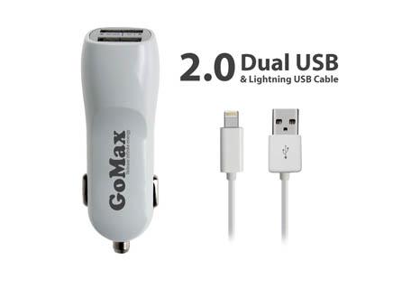 CAS01-5v 1.0a iPhone USB iki çıkışlı Araç Şarj Aleti ve Kablo