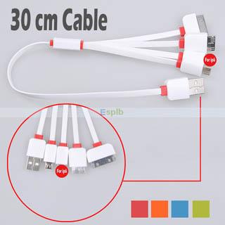 4 in 1 USB 5 PIN - IPHONE 4 - 5 - 6 - NOTE 3 30 CM ŞARJ KABLOSU