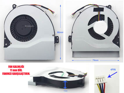Asus X550JD, X550JF Fan 11 mm Thickness 1.1cm kalınlık