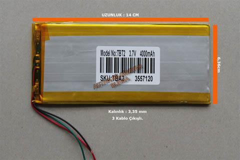 4000 mah Çin Tablet Batarya,Pil 14cm x 6,5 cm Üç KAblo Çıkışlı