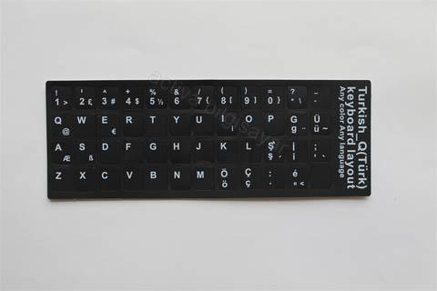 Laptop Q Türkçe Siyah Klavye Sticker Etiket Çevir Dönüştür